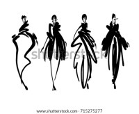 Fashion Models Sketch Hand Drawn Stylized Stock Vector ...