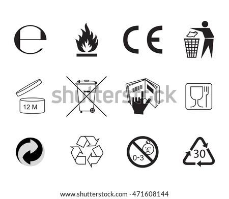 Set Packaging Symbols Handbook General Symbols Stock
