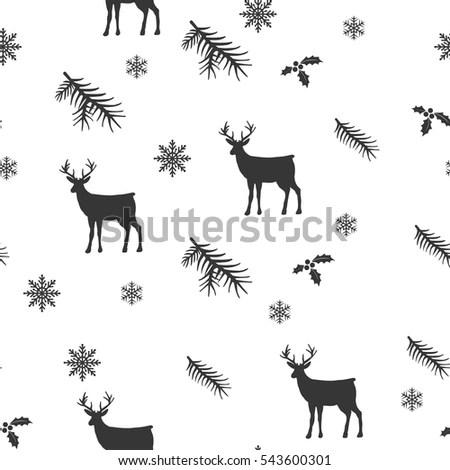 Seamless Pattern Deer Owl Bird Stock Illustration
