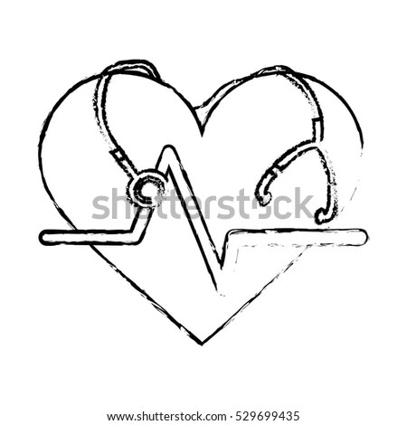 Sticker Cardio Heart Stethoscope Icon Over Stock Vector