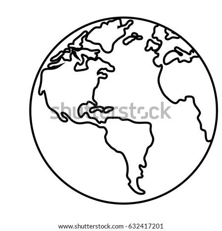 World Outline Illustration Outline Drawing Planet Stock
