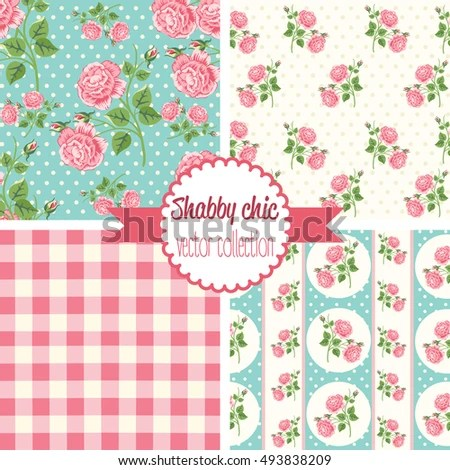 Shabby Chic Rose Patterns Seamless Backgrounds Stock