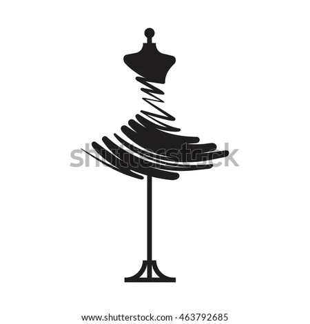 Woman Ball Gown Black Silhouette Vector Stock Vector