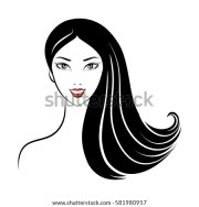 face glamor girl long hair outline