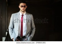 Grey Suit White Shirt Red Tie