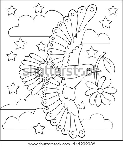 Christmas Seamless Pattern Silhouettes Angels Harp Stock