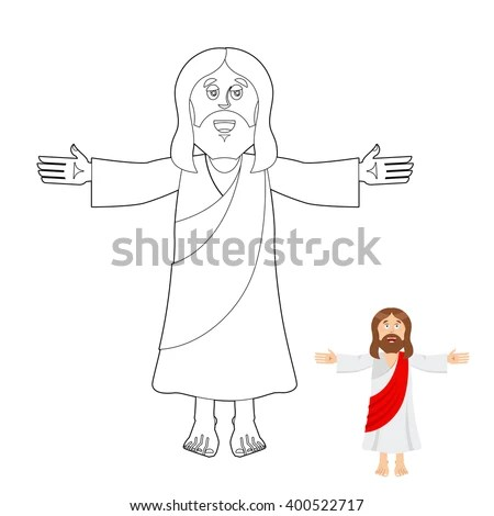Jesus Coloring Book Jesus Christ Drawing Stock Vector