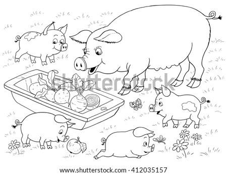 Farm Farm Animals Cute Mother Pig Stock Illustration