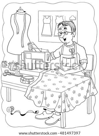 Cute Tailor Sewing Beautiful Dress Book Stock Illustration
