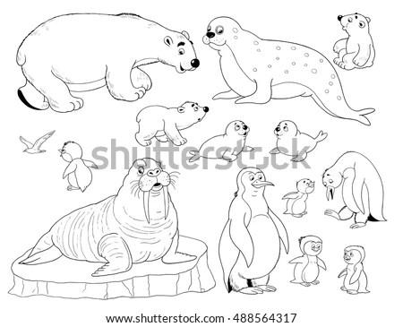 Zoo Small Set Cute Arctic Animals Stock Illustration