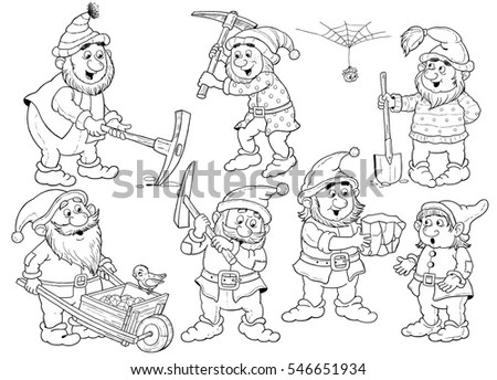 Snow White Seven Dwarfs Fairy Tale Stock Illustration