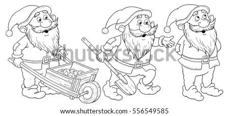 Snow White Seven Dwarfs Fairy Tale Stock Illustration