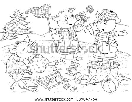 Three Little Pigs Page One Fairy Stock Illustration