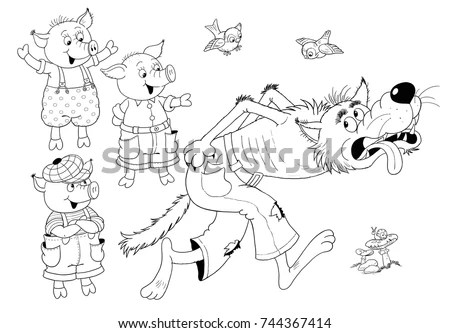 Three Little Pigs Cute Happy Pigs Stock Illustration
