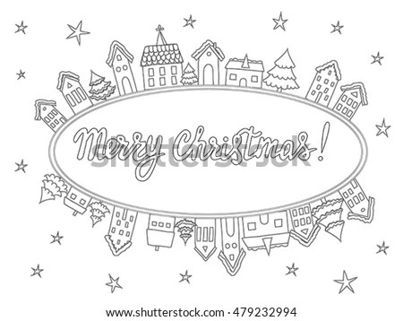 Vector Template Coloring Pages Christmas Cards Stock