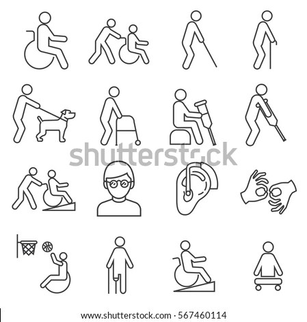 Set Disabilityrelated Vector Line Icons Includes Stock
