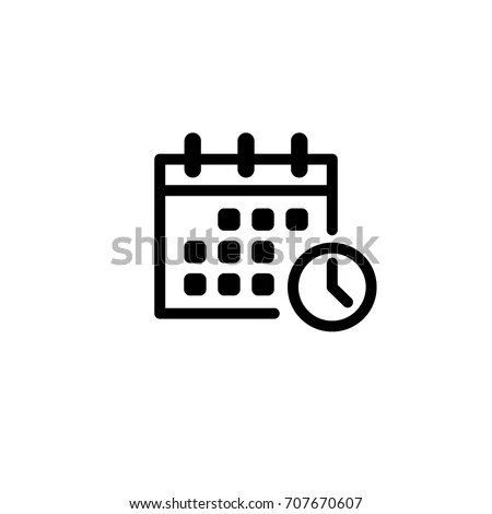 Calendar Clock Vector Icon Stock Vector 707670607