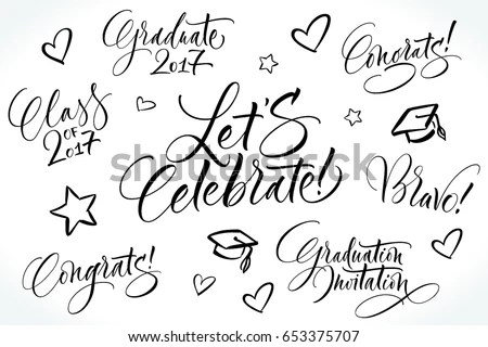 Graduation Wishes Lettering Set Graduation Design Stock