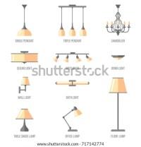 Vector Set Named Indoor Lighting Types Stock Vector