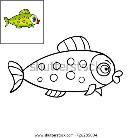 Coloring Book Page Kidscute Cartoon Fish Stock Vector