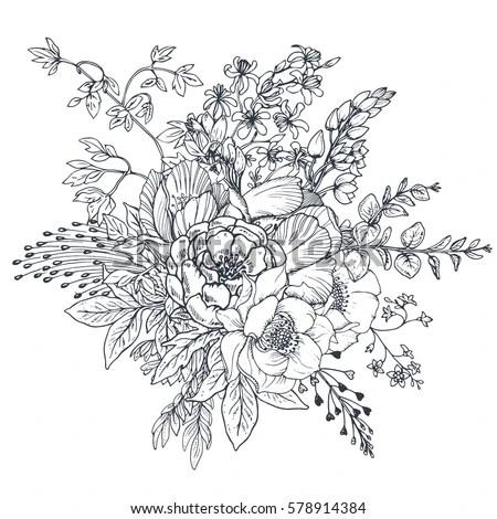 Floral Composition Bouquet Hand Drawn Flowers Stok Vektör