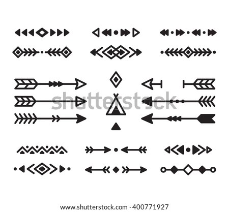 Native American Indian Design Elements Set Stock Vector