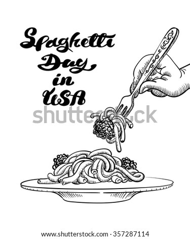 Vector Illustration Banner Spaghetti Day Usa Stock Vector