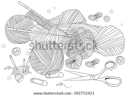 Knitting Needles Coloring Pages