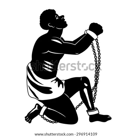 Abolition of slavery. Black and white silhouette. Vector