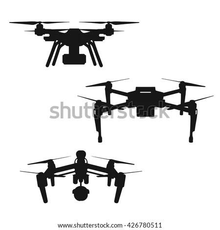 Set Aerial Black Silhouette Quadcopter Drone Stock Vector