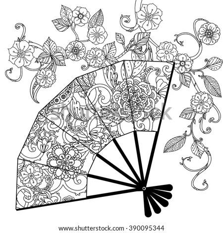Oriental Fan Decorated Floral Patterns Zentangle Stock