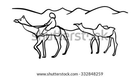 Plowman Horse Plow Outline Illustration Stock Vector