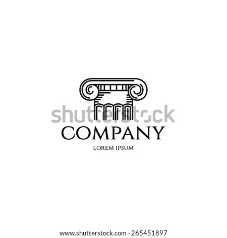 Column Logo Design Template Graphic Outline Stock Vector
