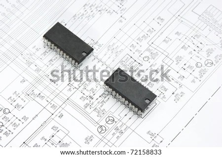 Old Electronic Components Lie On Wiring Stock Photo