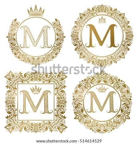 Vintage Monograms Set M Letter Golden Stock Vector