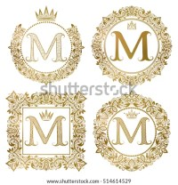 Vintage Monograms Set M Letter Golden Stock Vector