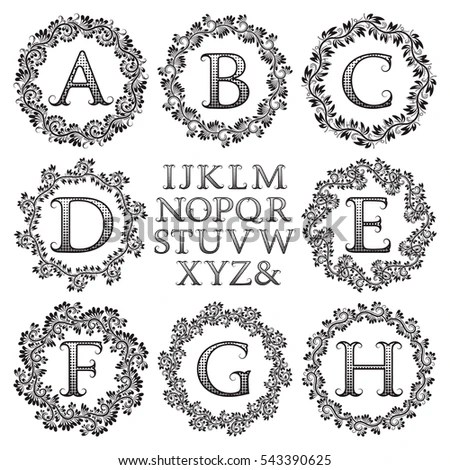 Rose Gold Monograms Set Antique Style Stock Vector