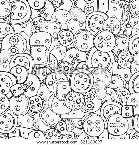 Seamless Pattern Clothes Buttons Handdrawn Decorative