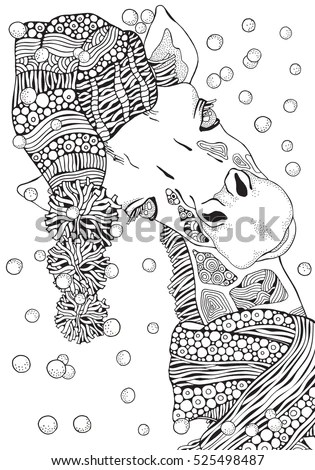 Coloring Book Page Adult Children Winter Stock Vector