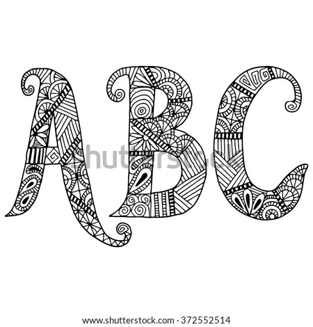 Abc Letters Zentangle Pattern Coloring Book Stock Vector