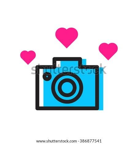 Download Camera Hearts Love Photo Camera Icon Stock Vector ...