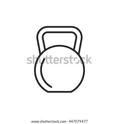 Kettlebell Vector Flat Outline Icon Design Stock Vector