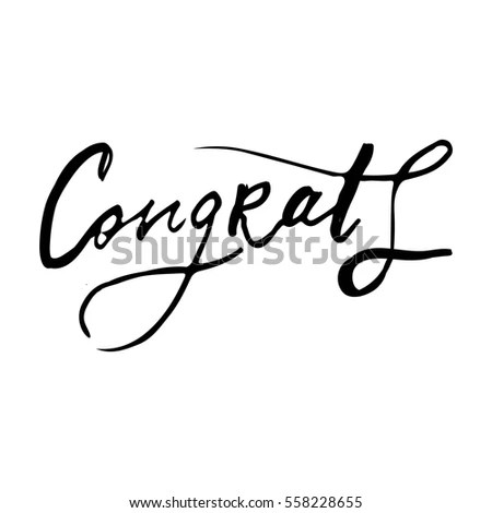 Congratulation Card Vector Hand Drawn Phrase Stock Vector