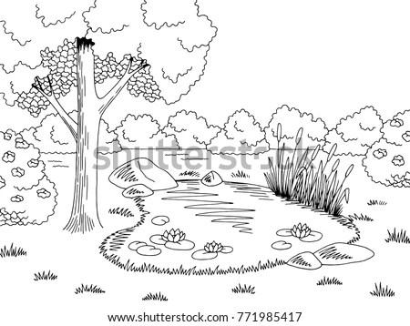 Pond Graphic Black White Lake Landscape Stock Vector