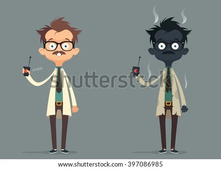 Mad Scientist. Failed Experiment: Burned. Vector Illustration - stock vector