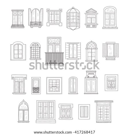 Set Cute Hand Drawn Windows Including Stock Vector