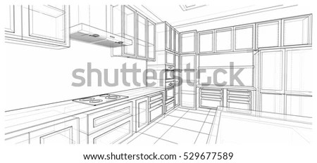 Bedroom Interior Sketch 3d Illustration Stock Illustration