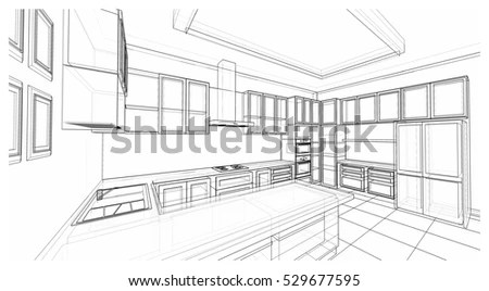 Interior Design Classic Style Kitchen Modern Stock