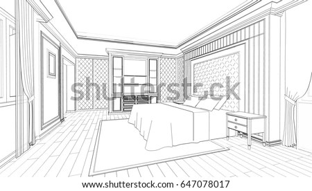 Interior Design Modern Classic Style Bedroom Stock