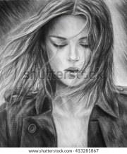 girl pencil drawing charcoal